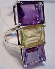 6.6 Grams 925 Silver Amethyst Lemon Topaz Ring Size 9.5 Handcrafted Emerald Cut
