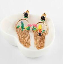 LES NEREIDES PARIS Tropical Jungle Parrots On A Branch Tassel  Drop Earrings NEW