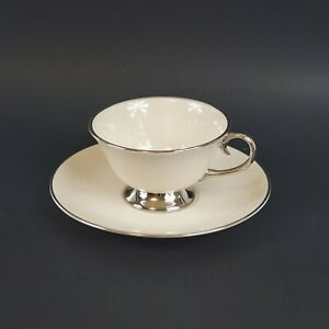 Flintridge China Bellmere Footed Cup And Saucer Set (Off White/Platinum)