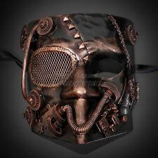 Steampunk Bauta Full Face Halloween Costume Masquerade Mask for Men - Copper