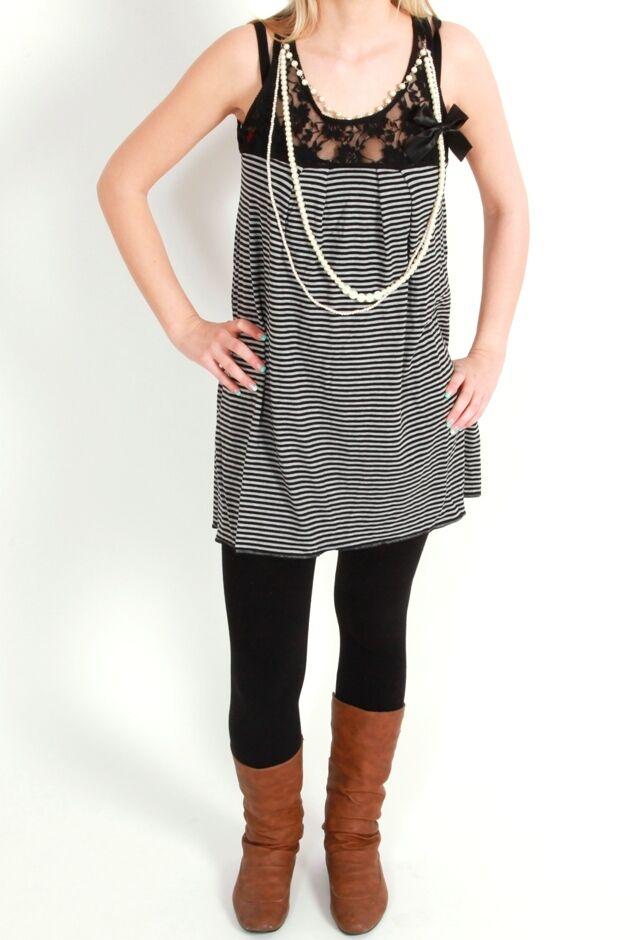 VSCT Clubwear Romantic Ringle Shirt Top grey Dress Kleid Tank Longtop Tanktop