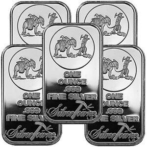 SilverTowne-Logo-1oz-999-Fine-Silver-Bar-LOT-OF-5