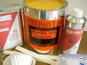 Details About School Bus Yellow Acrylic Enamel Single Stage Restoration Auto Body Paint Kit