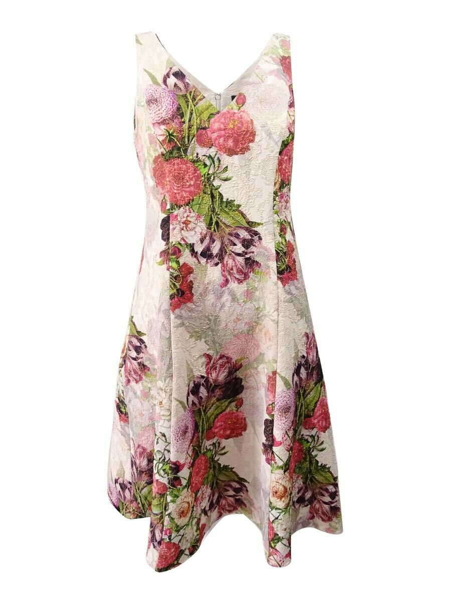 Adrianna Papell Women's Floral-Print Fit & Flare Dress (4, pink Multi)