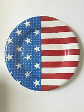 8 patriotic flag paper plates 8\  dessert 4th of July red white blue party supply & Patriotic American Flag July 4th Red White Blue Stars \u0026 Stripes ...