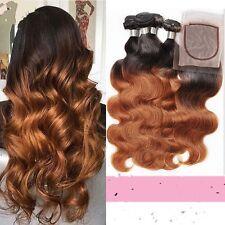 8A 300g/3 paquetes sin procesar Ombre 1b/30 brasileño bodywave Human Hair & Cierre