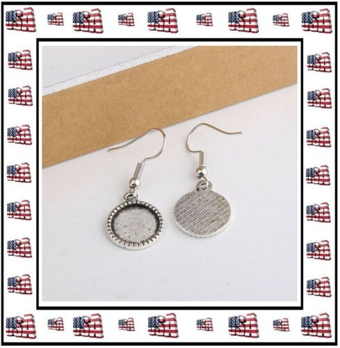 Antique Silver Blank Bezel Earrings DIY Crafts 3 Sizes Available 10mm 12mm 14mm