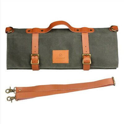 Roll Bag Waxed Canvas Leather Knives