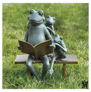 Image Is Loading Reading Frog Family Bench Metal Garden Sculpture Statue