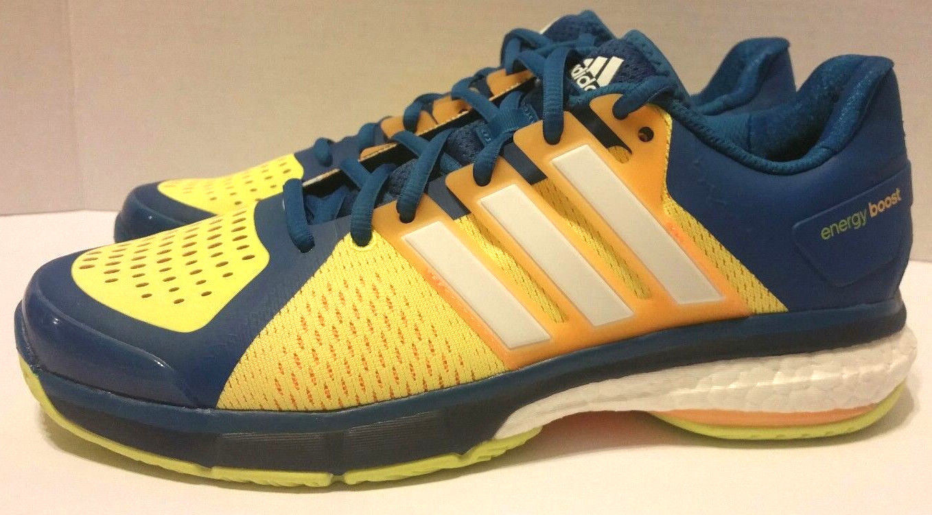 Adidas Energy Boost Men's Tennis Shoes Yellow Blue White AQ2294 Size 9 MSRP 180