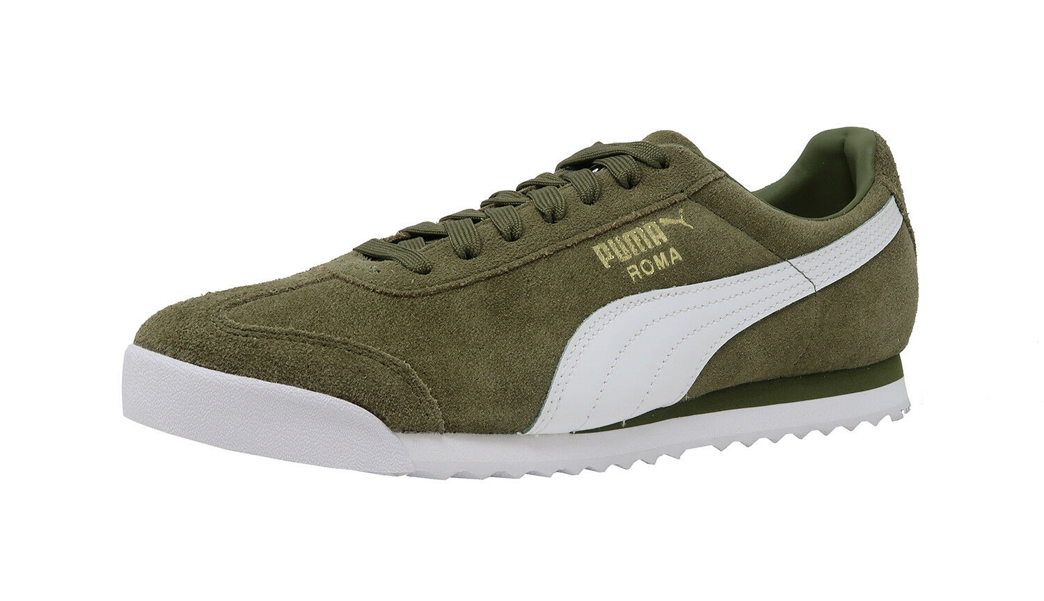 PUMA Roma Suede Leather Capulet Olive White Athletic Lace Up Sneakers Men Shoes