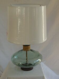 Aqua Glass Table Lamp 16 With White Drum Shadeshade Ebay