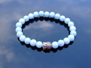 Buddha-Angelite-Natural-Gemstone-Bracelet-6-9-039-039-Elasticated-Healing-Stone-Chakra