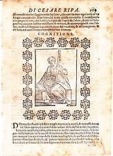 1613  RIPA CESARE   XILOGRAFIA cm:11X11  COGNIZIONE 400  anni di vita