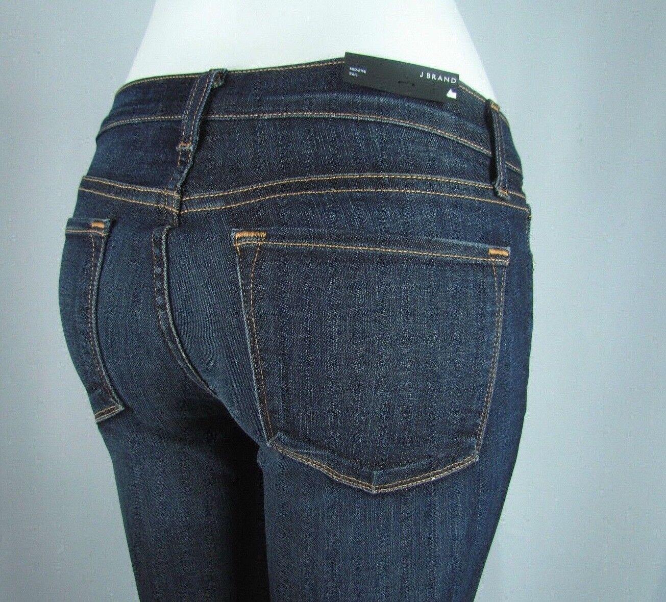 New J BRAND 8112 Mid Rise Rail SKINNY LEG Woman Jeans SZ 28 IN DARK VINTAGE blueE