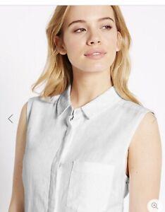 51dfb60ce8f M S No Peep White Blouse Womens LINEN BLEND Sleeveless Shirt Size 16 ...