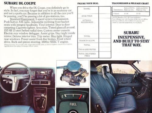 1977 Subaru DL Coupe Original 1-page Car Sales Brochure Card
