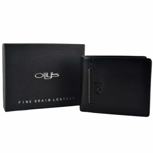 Mens Fine Grain Classic Leather Wallet by Olly/'s Wilson Collection Gift Box