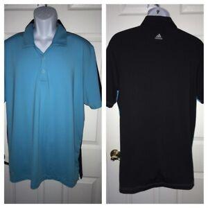 ADIDAS-Puremotion-Cool-Max-Mens-Golf-Shirt-Blue-Black-S-S-Polo-Stretch-Sz-LARGE