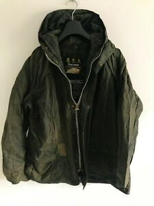 Mens-Barbour-Durham-Hooded-wax-jacket-Green-coat-44in-size-L-XL-Lightweight