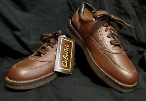 cabelas mens brown leather walking casual shoes vibram