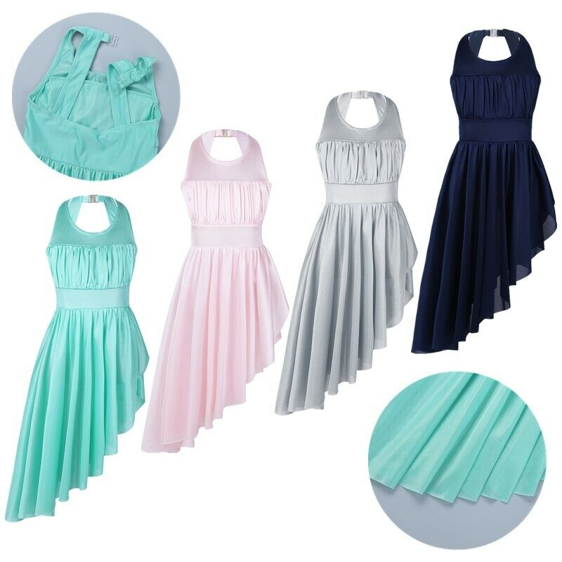 Girls Lyrical Dance Dress Kids Ballet Halter Leotard Hem Skirt Modern Dancewear