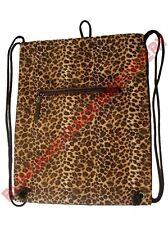 Drawstring Backpack Cinch Pack Leopard Cheetah Brown Trim