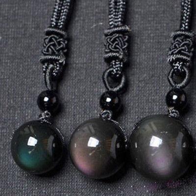 Black Obsidian Rainbow Eye Beads Ball Natural Stone Pendant Transfer Lucky Love