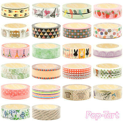 Decorative Washi Paper Sticky Adhesive Masking Tape Label Craft DIY 15MM x 10M