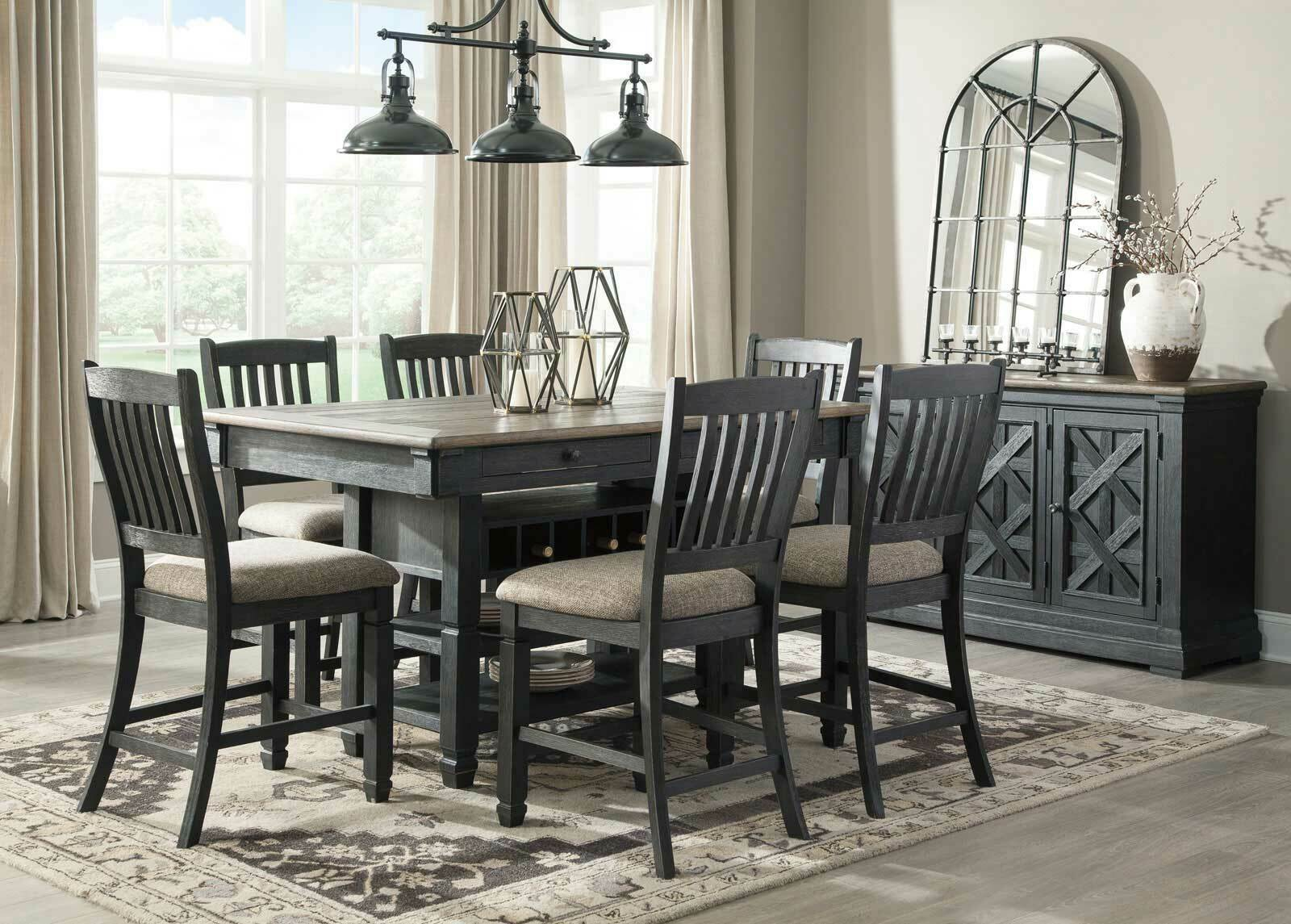 Picture of: Cottage Counter Height 7 Pieces Dining Room Set Black Square Table Chair Ic53 For Sale Online Ebay
