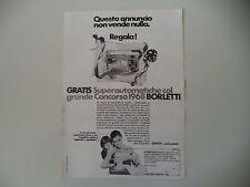 advertising Pubblicità 1968 MACCHINA PER CUCIRE BORLETTI SUPERAUTOMATICA