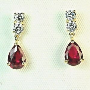 Elegant-14k-solid-yellow-gold-lab-created-teardrop-Red-Ruby-stud-small-earrings
