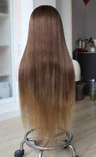 Custom Full Lace European 2T#4 Balayage #8 w 18 ends Straight Human Hair Wig 26