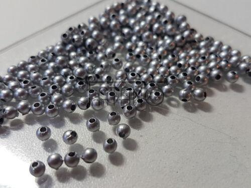 Acryl Perlen rund silber 250 Stück 3-4 mm Spacer Basteln Schmuck  R184 AU