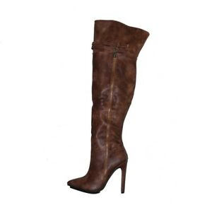 d5e715b4709 Women s Over Knee High Boots Stiletto Side Zip Buckle Pointed Toe ...