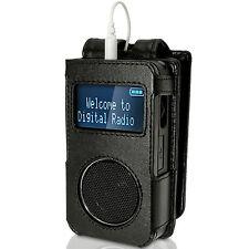 Schwarz Echt Leder Tasche für Roberts Sports Dab 3 Radio Etui Hülle Schutz Cover