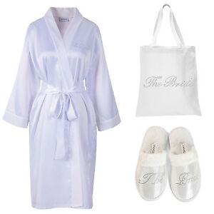 Crystal The Bride Satin Bathrobe+Tote Bag+Spa Slippers set Kimono ...