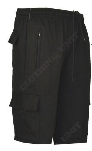 Da Uomo Tinta Unita in Pile palestra Jogger pantaloncini cargo vita elasticizzata con zip M-XXL