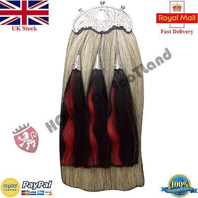 Bagpipes Scottish Bagpipe Piper Kilt Sporran Grey Long Horse Hair With 3 Black Red Hair Folk & World