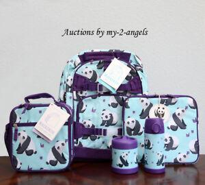 Pottery Barn Kids 5 Pc Aqua Panda Large Backpack Lunch Box