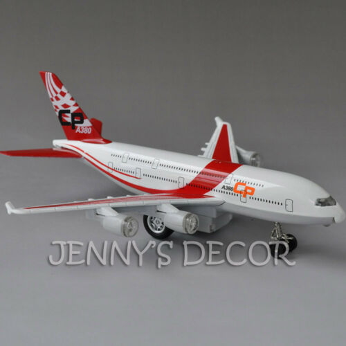 """Diecast Metal Plane Model Toys 8/"""" Airbus A380 Pull Back Replica with Sound Light"""