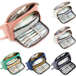 Kids-Pen-Pencil-Case-Double-Zip-School-Stationery-Cosmetic-Bag-Large-Capacity