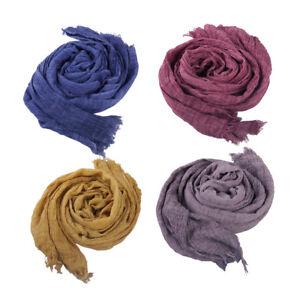b530066495996 Das Bild wird geladen Damen-Herren-Schal-Crinkle-Knitter-Fransen-Halstuch- Baumwolle-