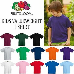 8ab3875ade1 Fruit of the Loom Kids Valueweight T Shirt Top Boys Girls Tee School ...