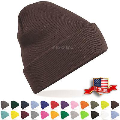 Mens Cool Hat Ribbed Solid Plain Knit Ski Cap Warm Beanie Skull Winter Cuff Hats