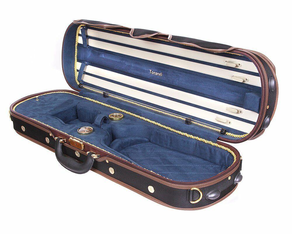 Tonareli Deluxe Violin Case - 4 4 - NAVY VNDLUX1002