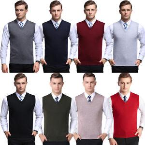 Para-hombres-Calce-Ajustado-Liso-de-Punto-sin-mangas-con-cuello-en-V-Sueter-Chaleco-Camiseta-sin