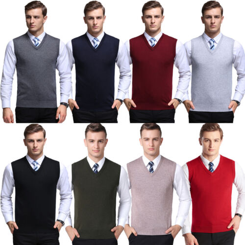 Mens V-Neck Sweater Vest Tank Top Jumper Slim Fit Plain Knitted Sleeveless