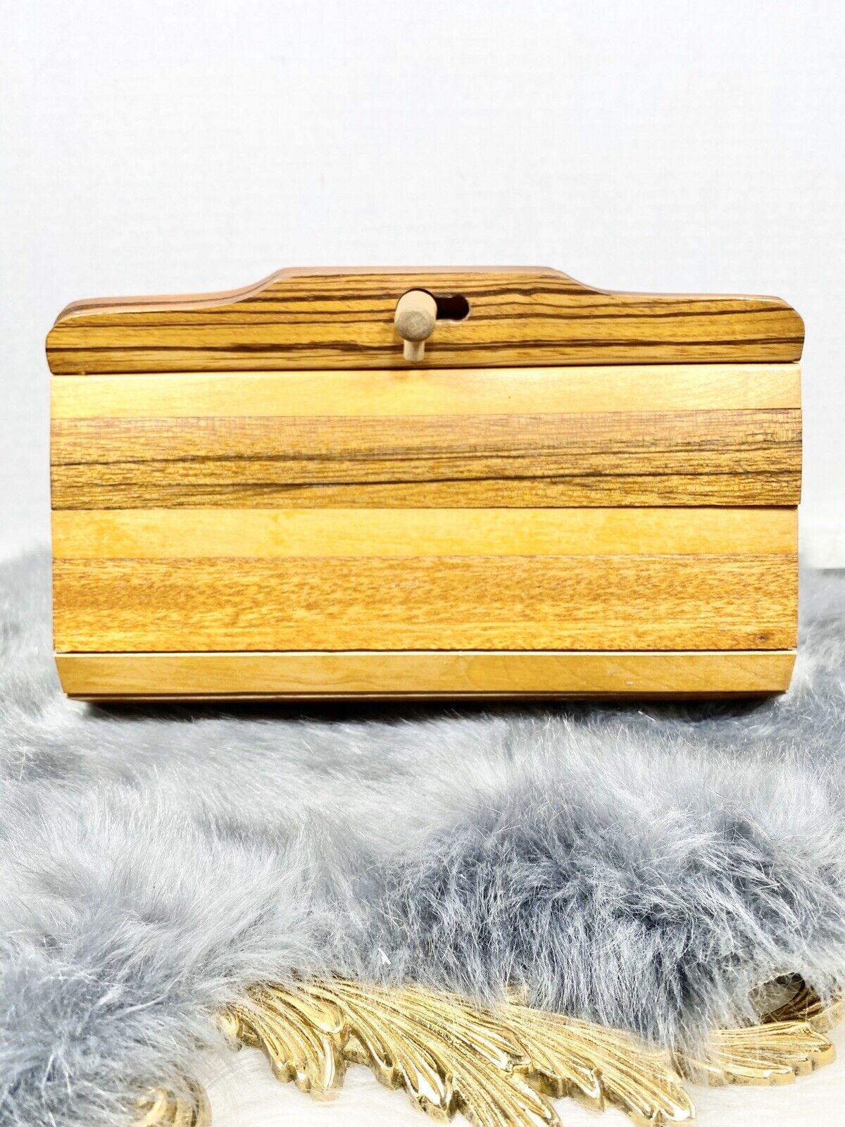 Vintage Wood Slat Envelope Clutch 2 Tone Brown Evening Bag Lined Purse Small