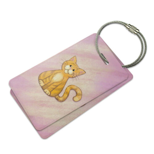 Orange Cat in Pastel Suitcase Bag ID Luggage Tag Set